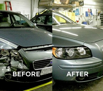 Image of a Volvo before Custom Paint & Body and after. Notice the difference?